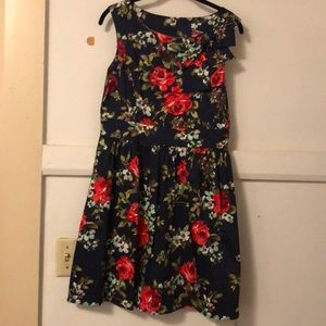 Navy and Rose fit and flare dress